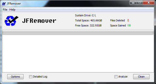 JFRemover Main Screen