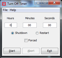 Turn Off Timer Main Screen